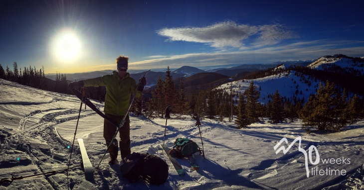 Skiing at sunset, Monarch Pass.