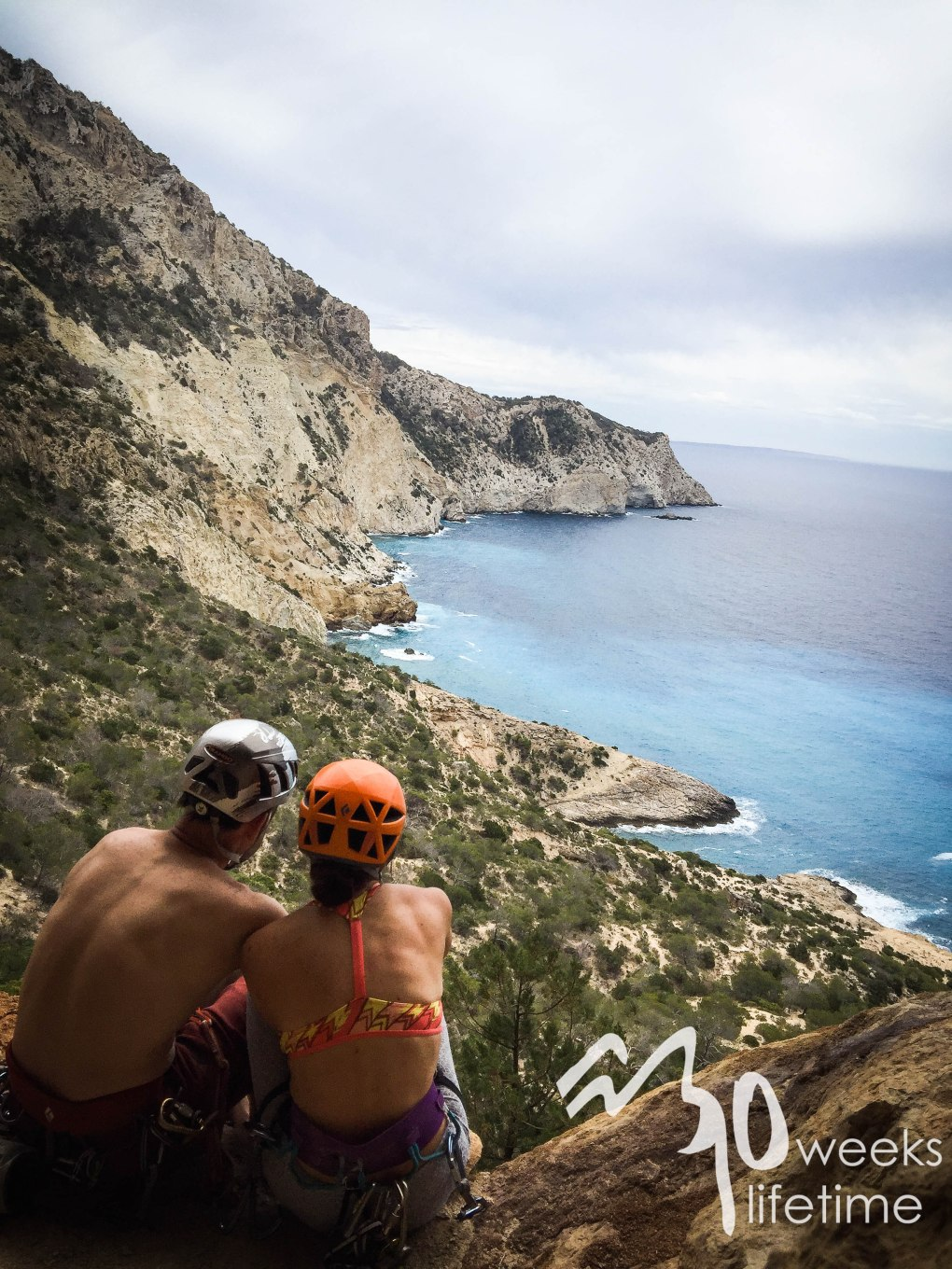 Climbing in Ibiza the day of our engagement!